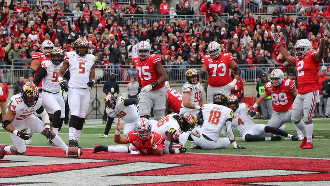 Will we see scenes in 2020 such as this: Ohio State quarterback Justin Fields (1) scoring on a touchdown run against the Maryland, Nov. 9, 2019, during the first quarter at Ohio Stadium?