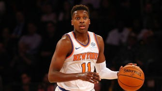 New York Knicks point guard Frank Ntilikina (11) in action against the Houston Rockets at Madison Square Garden.