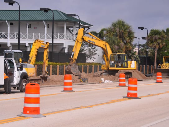 Work is underway on a sewer line project along South