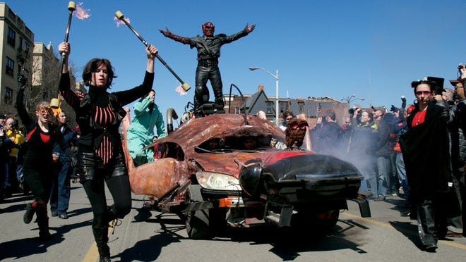 Thousands came to Midtown at the intersection of Canfield Street and Second Avenue for the sixth annual Marche du Nain Rouge in Detroit today.