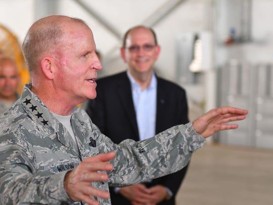 Vice Chief of Staff of the Air Force Gen. Stephen Wilson addresses the 920th Rescue Wing while Under Secretary of the Air Force Matthew Donovan looks on.