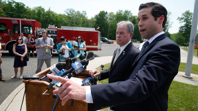 Rockland County Executive Ed Day and Assemblyman Ken Zebrowksi announce plans to immediately inspect private schools for building code and fire safety on May 26, 2016. The majority of the schools being targeted are located in the Town of Ramapo.