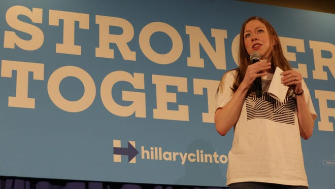 Chelsea Clinton, daughter of Democratic presidential candidate Hillary Clinton, speaks Nov, 2, 2016, at Reeve Memorial Union on the campus of the University of Wisconsin-Oshkosh. She spoke about her mother's years of public service and answered questions from the audience.