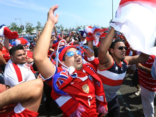 Chilean fans chant before the game, tailgating in the parking lot of MetLife Stadium before the historic Argentina vs. Chile final of the 100th anniversary Centennial Copa America at MetLife Stadium, June 26, 2016, East Rutherford, NJ