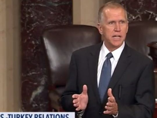 U.S. Sen. Thom Tillis, R-N.C., is shown speaking on the Senate floor in this shot taken from video from  C-SPAN.