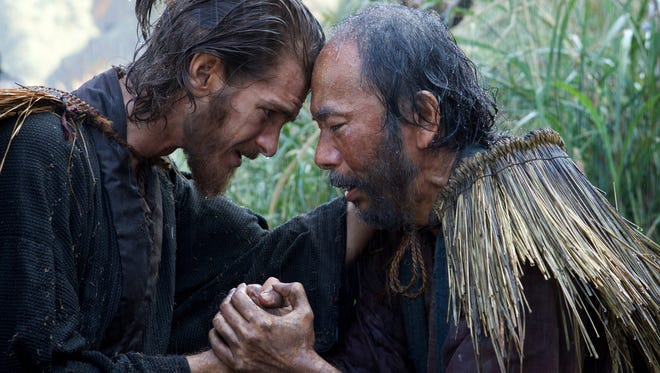"""Andrew Garfield, left, and Shinya Tsukamoto in a scene from """"Silence."""" the film opens Friday at R/C Hanover Movies."""