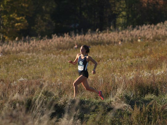 Winner Sierra Casteneda of West Morris during the Northwest Jersey Athletic Conference varsity girls large school cross country championships at Greystone Park. October 20, 2015, Morris Plains, NJ