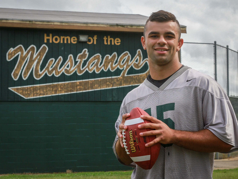 Brick, NJ Brick Memorial quarterback Tim Santiago for football offensive game ball. 092115