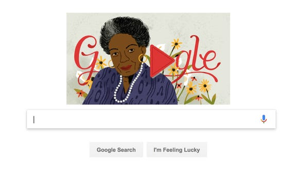 A Google Doodle honoring author and poet Maya Angelou.