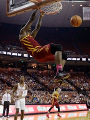 Iowa State forward Cameron Lard (2) scores against Texas during the first half of an NCAA college basketball game, Monday, Jan. 22, 2018, in Austin, Texas. (AP Photo/Eric Gay)