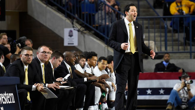 Vanderbilt coach Bryce Drew looks on during his coaching debut with the Commodores in a game versus Marquette in Annapolis, Md., on Nov. 11, 2016.