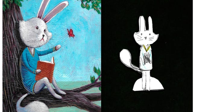 Ryan and Paloma's collaboration includes Paloma drawing characters, like this bunny she named Lily, and Ryan painting the character to further its identity.