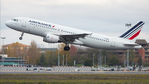 An Air France Airbus A320 departs Toulouse, France,