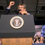 When President George W. Bush visited York County in July 2004 during his re-election campaign, Penn State's head football coach Joe Paterno introduced him to a crowd of 9,000 people at the York Expo Center.y.