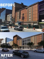 A before and after view of the plans for the former McCrory's building at 200 E. Main St.