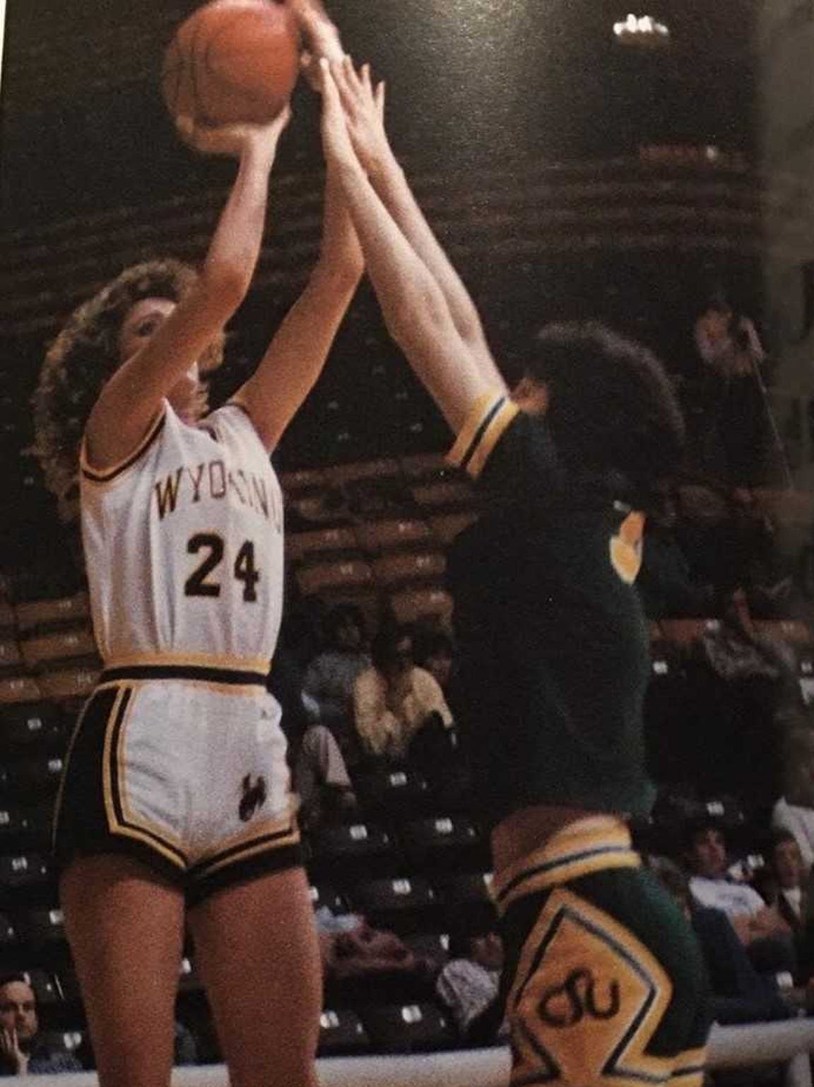 Michele Daum (24) was a standout basketball player