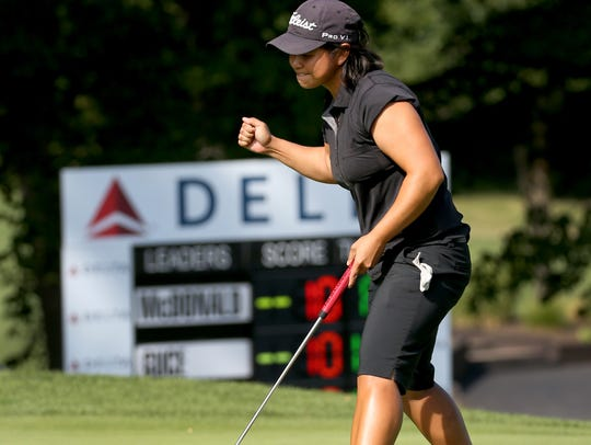 Clariss Guce won the 2016 Danielle Downey Credit Union Classic with this birdie putt on No. 18.