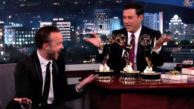 Aaron Paul chats with Jimmy Kimmel.