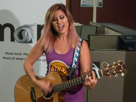 "Slapout native and former ""American Idol"" contestant Jessica Meuse visited the Advertiser's newsroom on Monday, April 25, 2016, for this week's newsroom concert edition of Montgomery Advertiser LIVE!"