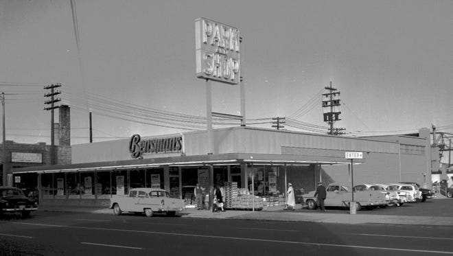 """Bensman's grocery store on South Eighth Street, now Superior Discount Liquors. This was the second """"supermarket"""" in Sheboygan. It later served as the offices for Park and Shop until 1984 when Park & Save was built on 25th street."""