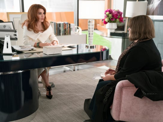 "Julianna Margulies as Kitty, Joy Nash as Plum on ""Dietland."""