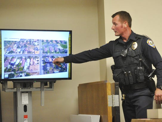 Officer Blaine Gamache testifies during a preliminary