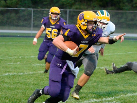 Hagerstown's Owen Golliher runs the ball. Hagerstown