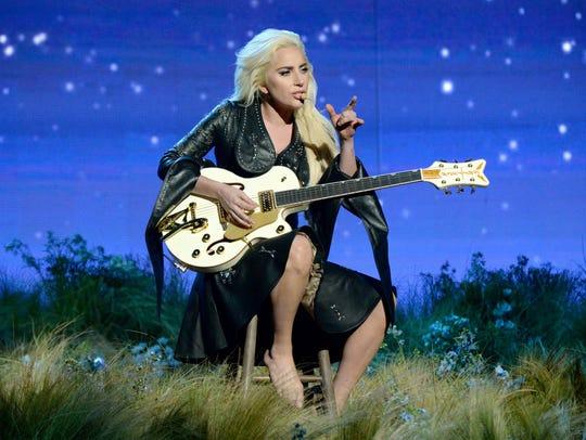 Lady Gaga performing at the American Music Awards.