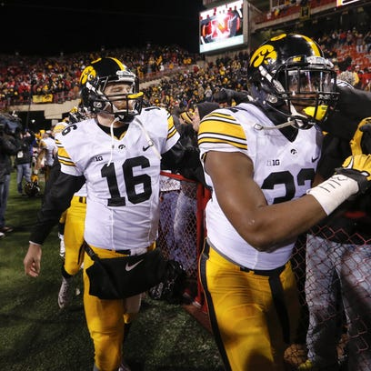 Iowa's C.J. Beathard celebrates a 28-20 win at Nebraska.