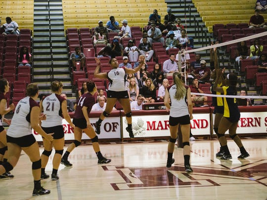 UMES' Hayley Robinson goes up for a kill shot.
