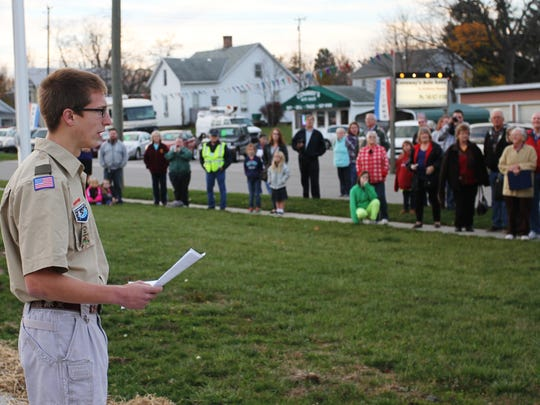 Boy Scout Jacob Gero recently improved the city's Veterans Green, adding a paved Purple Heart Memorial Walkway. He talked about the project during the city's recent Veterans Day ceremony.