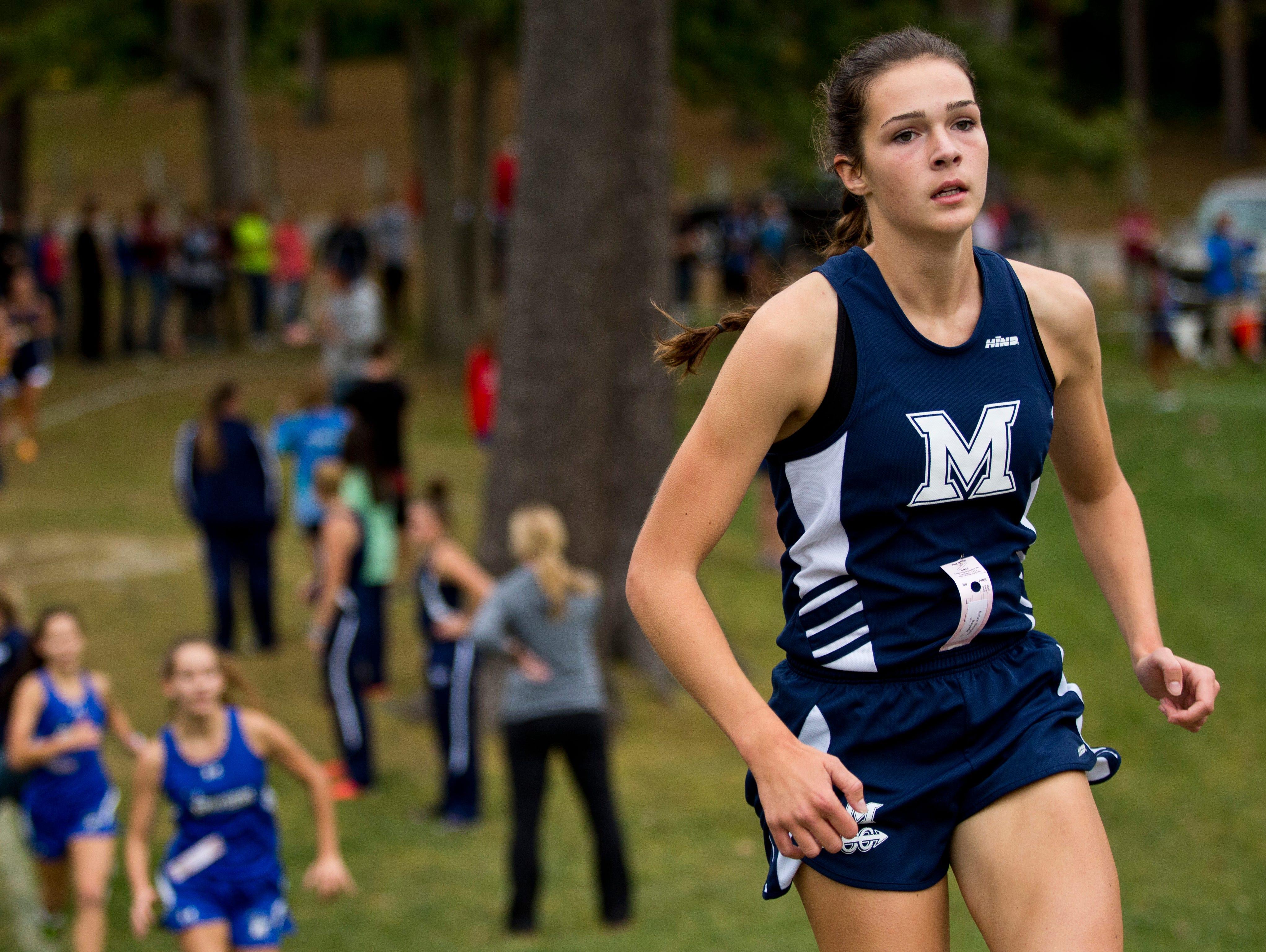 Marysville's Kenzie Weingartz runs during the Marysville Invitational cross country meet Thursday, October 8, 2015 at Marysville City Park.