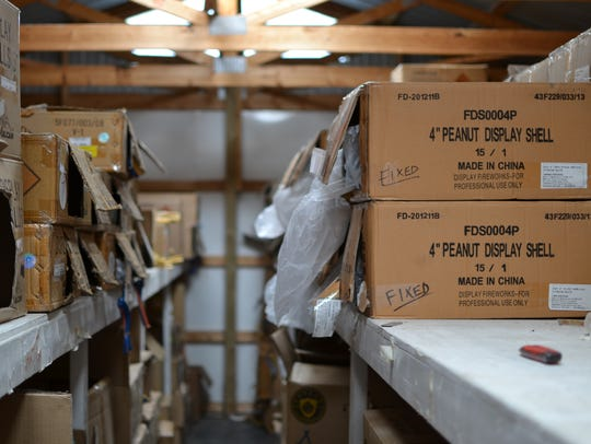 Fireworks are stored inside one of several sheds owned