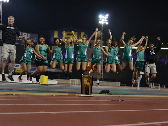 Lafayette High girls track coaches Ron Baillargeon,