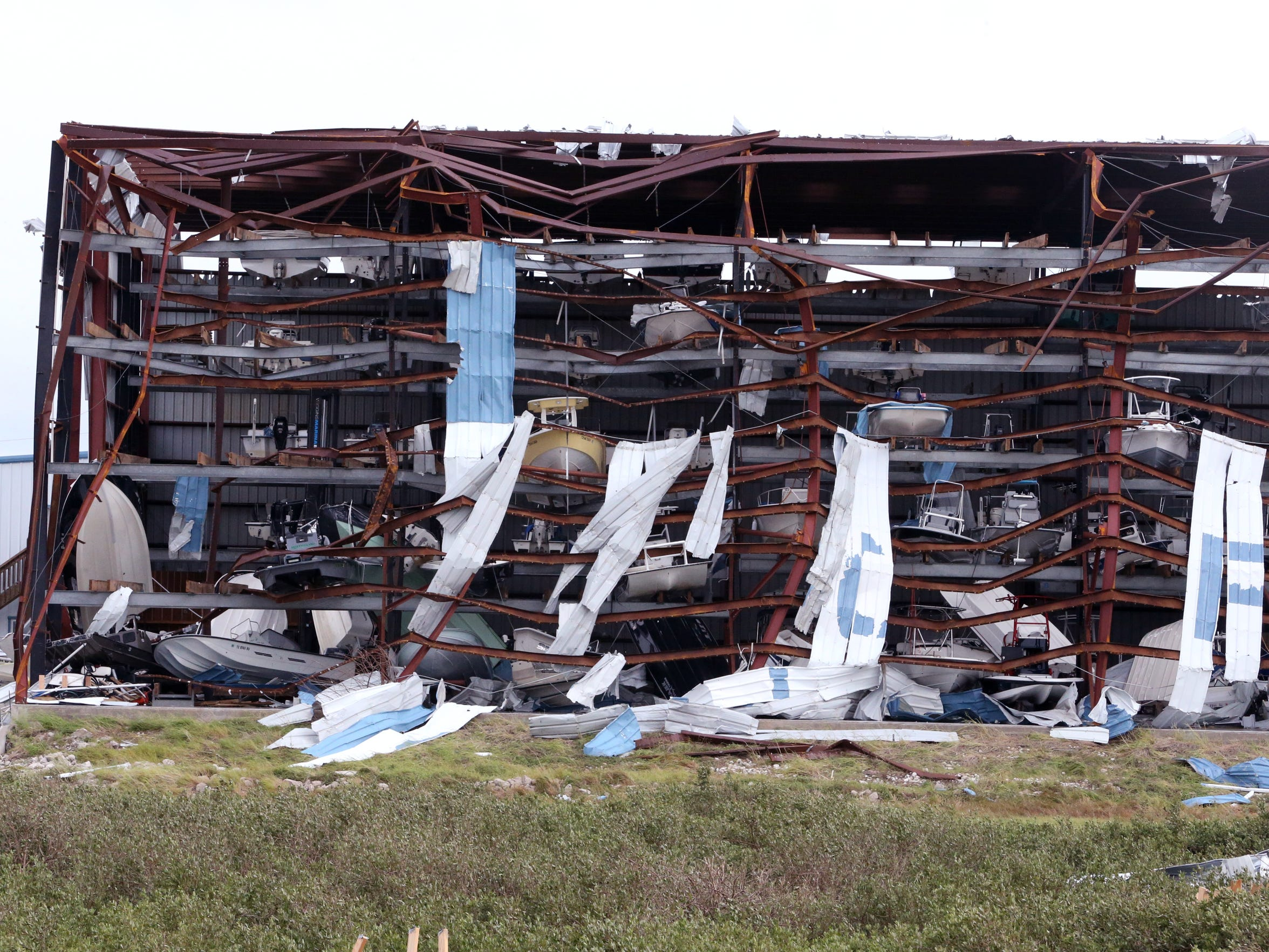 This boat storage facility in Cove Harbor in Rockport, TX, sustained considerable damage due to Hurricane Harvey. The facility, seen here on Sunday, August, 27, 2017, had boats on top of each other.