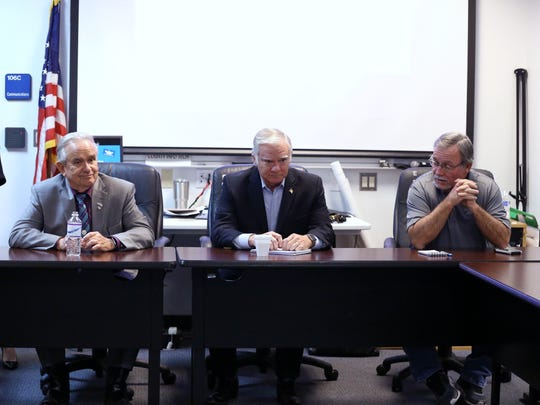 Diane Probst (from left), president and CEO of the Rockport-Fulton Chamber of Commerce, Aransas County Judge Burt Mills, Rockport Mayor Charles Wax and Fulton Mayor Jimmy Kendrick deliver opening statements during a meeting that publicly kicked off the development of an economic recovery plan for Rockport-Fulton on Tuesday, Jan. 9, 2018, at the Public Safety Complex in Rockport.