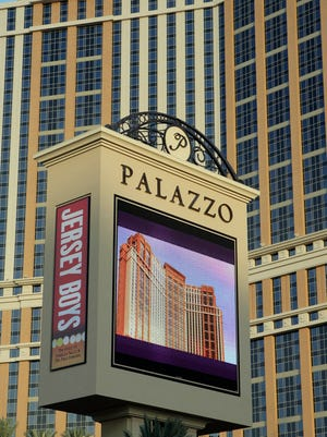 FILE - In this Jan. 16, 2008 file photo, the Palazzo hotel-casino is shown on the Strip in Las Vegas. The Las Vegas Sands Corp. has announced plans to build a 17,500-seat concert hall behind its Venetian and Palazzo casinos.
