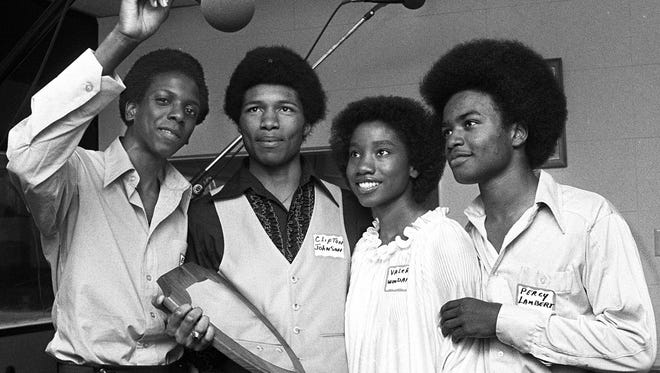 Essie Moore, left, Clifton Johnson, Valerie Woodard and Percy Lambert of Rosa Fort High School's Quiz 'Em on the Air Champions at WDIA Radio on May 19, 1979. The team from Tunica, Miss., defeated  Raleigh-Egypt High School after the two teams had battled evenly for two rounds. The final score was Rosa Fort 1,525 to Raleigh-Egypt's 1,325.