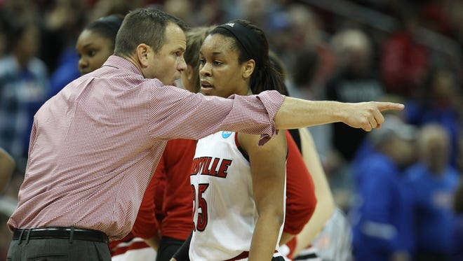 Louisville coach Jeff Walz made a point to guard Asia Durr late inthe game against DePaul. March 20, 2016.