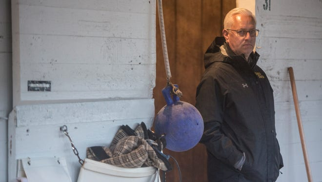 Trainer Todd Pletcher watched as his four Kentucky Derby are bathed following workouts at Churchill Downs. April 24, 2018.
