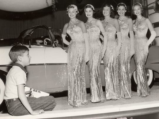 These auto show models were known as the Fisher Body Girls and appeared in the GM Motorama of 1955. Each girl represented one of the five GM cars whose bodies were built by Fisher.