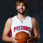 Detroit Pistons center Aaron Gray poses during media day .
