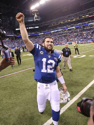 Indianapolis Colts Andrew Luck after last season's win over Kansas City in the playoffs.
