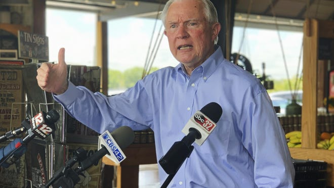 Former U.S. Attorney General Jeff Sessions speaks to reporters during a campaign stop at Sweet Creek restaurant and farmers market, south of Montgomery on Monday. Sessions faces former Auburn University football Coach Tommy Tuberville in the July 14 Republican runoff. Sessions held the seat for 20 years before resigning to become President Donald Trump's first attorney general.