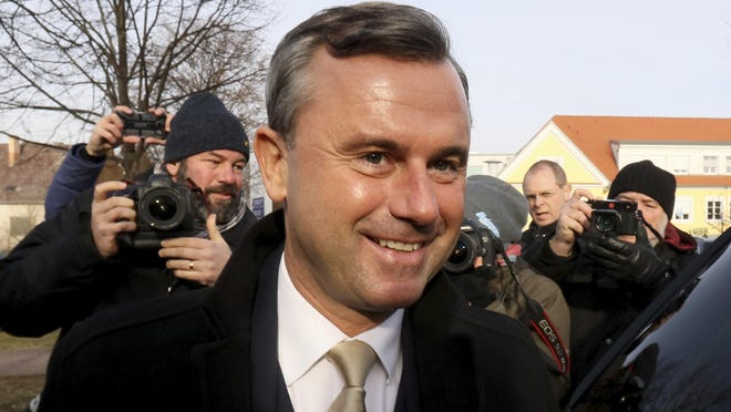 Norbert Hofer of Austria's Freedom Party, FPOE, arrives at a polling station during the Austrian presidential elections, in Pinkafeld, Austria, on Sunday.