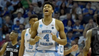 Mar 24, 2017; Memphis, TN, USA; North Carolina Tar Heels forward Isaiah Hicks (4) reacts in the second half against the Butler Bulldogs during the semifinals of the South Regional of the 2017 NCAA Tournament at FedExForum. Mandatory Credit: Justin Ford-USA TODAY Sports