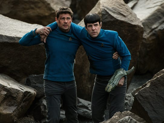 Bones (Karl Urban) and Spock (Zachary Quinto) are in