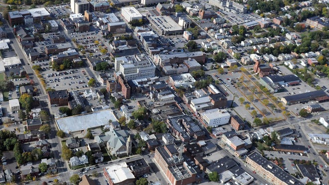 This aerial view looks west at the City of Poughkeepsie.