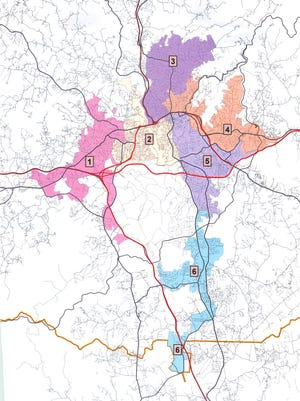 Proposed district maps for Asheville City Council elections.
