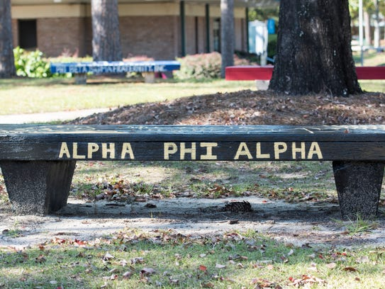 Fraternity and sorority benches line walks ways at